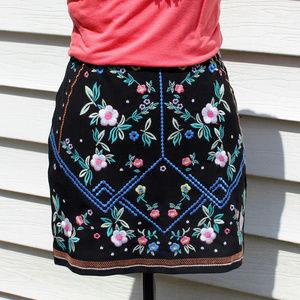 Black Mini Skirt Bright Embroidered Spring Flowers